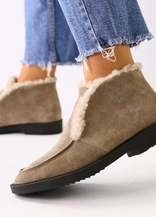 Lux обувь! натуральные зимние женские лоферы сапоги ботинки