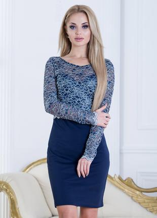 Вечернее синее платье с гипюром, размер М