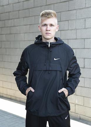 Ветровка с капюшоном осенняя куртка лекая анорак черный