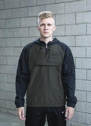 Анорак мужской куртка осеняя с капюшоном лекая ветровка с подк...