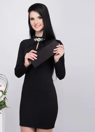 Черное стеганное платье, размер L