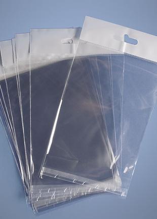 Пакеты с клейкой лентой, европодвесом, дном, прозрачные, фасовочн