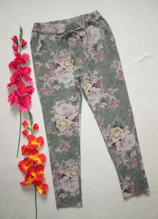 Трикотажные спортивные стрейчевые  укороченные брюки в цветочн...