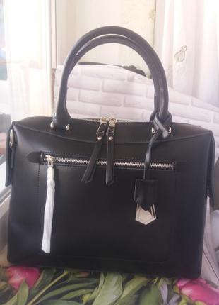 Кожаная большая черная сумка из натуральной кожи шкіряна жіноча