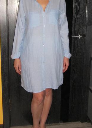 Коттоновое платье- рубашка от  h&m  р.10