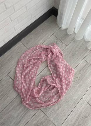 Легкий розовый шарф снуд, платок, шафрик