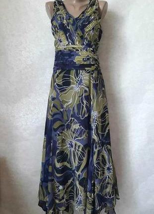 Платье миди/шифоновый сарафан в крупные цветы хаки+синий, разм...