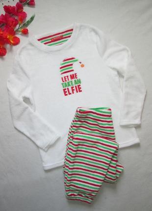 Суперовая плюшевая теплая новогодняя пижама домашний костюм эл...