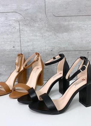 Шикарные босоножки на каблуке в черном и коричневом цветах