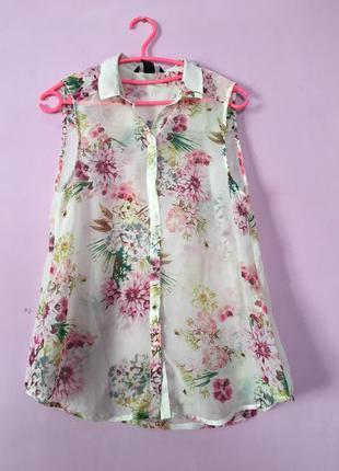 Нежная шифоновая блуза со цветами цветочный принт