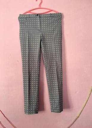 Стильные голубые брюки летние с узором