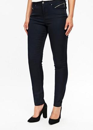 Шикарные стильные стрейчевые  темно-синие брюки декоративные к...