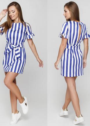 Коттоновое платье в полоску, размер М