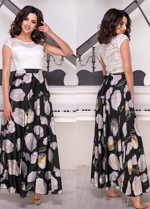 Длинное женское платье верх гипюр, размер М