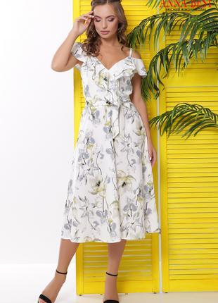 Летнее платье миди с воланами, размер S