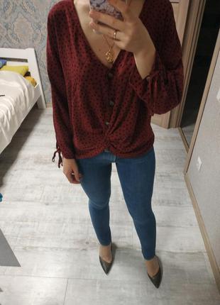 Шикарная модная блуза с пуговицами завязками в горох