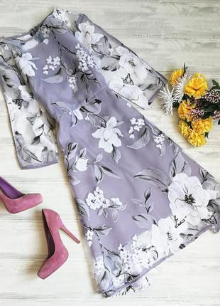 Нежное вечернее платье в цветы из органзы размер м
