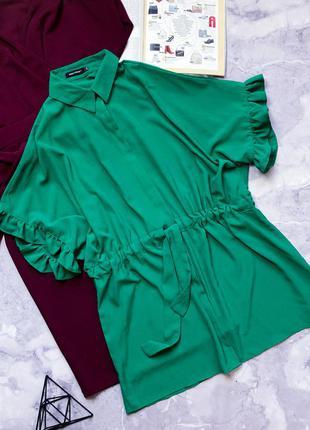 Крутая туника платье-рубашка свободного кроя под пояс