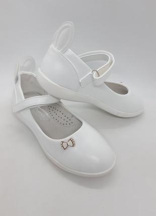 Белые туфли на девочку 32-36 р солнце