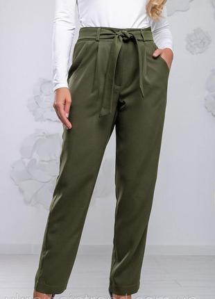 Шикарные модные стильные брюки мом хаки пояс с рюшами высокая ...