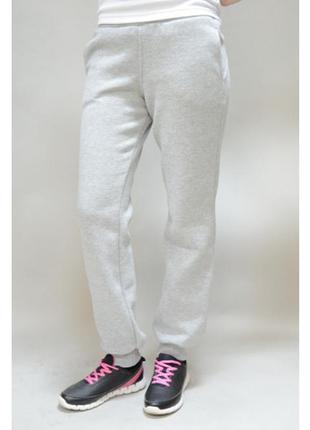 Трикотажные спортивные стрейчевые серый меланж  брюки с начесо...