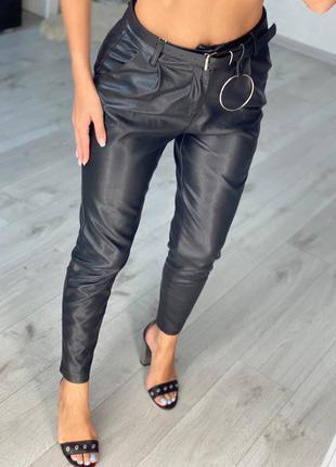 Кожаные брюки с высокой посадкой в люкс качестве🔥🖤