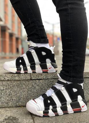 Nike uptempo black white, мужские кроссовки найк высокие демис...