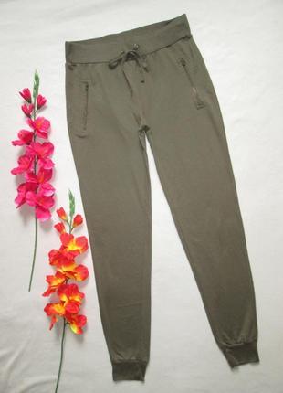 Трикотажные стрейчевые спортивные брюки хаки с манжетами tu