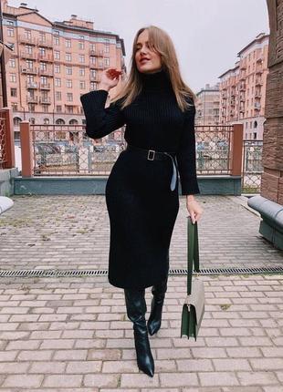 Облегающее платье в рубчик, длина миди