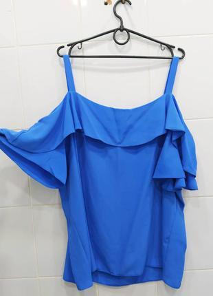 Яркая шифоновая блуза с открытыми плечиками