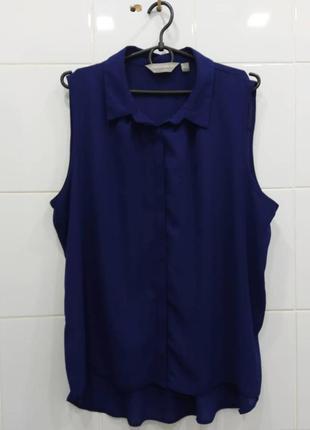 Синяя шифоновая блуза на пуговках 16рр