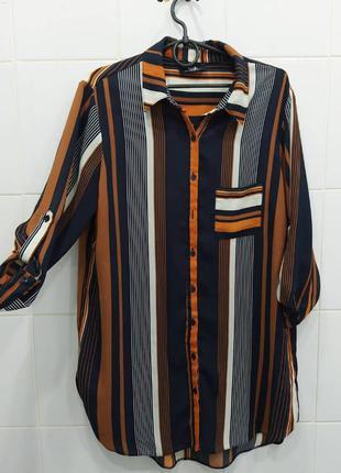 Трендоая шифоновая блуза рубашка в актуалтную полоску