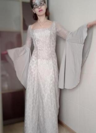 Шикарный карнавальный костюм платье с кружева зима, снежной ко...