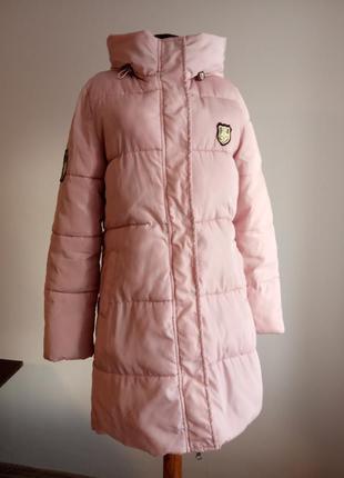 Длинная розовая куртка- пальто на синтепоне. пуховик зимний.