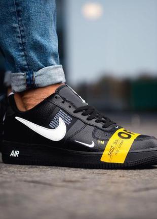 Nike air force 1 low off-white black yellow, мужские кроссовки...