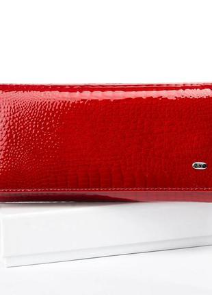 Кожаный лаковый женский красный кошелек натуральная кожа