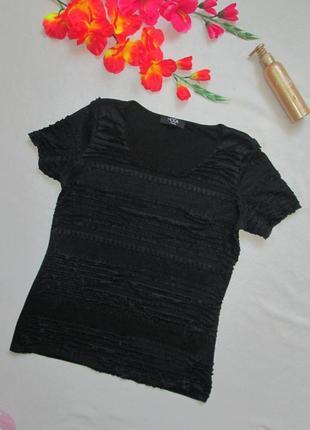 Классная стрейчевая черная футболка с мелкими рюшами george