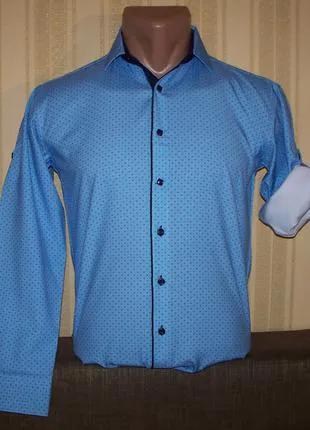 Рубашка трансформер приталенная для мальчиков 116-158 Польша