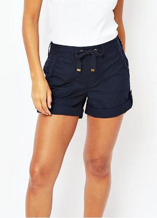 Легкие летние темно-синие шорты с карманами из чистого хлопка ...