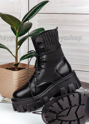 Ботинки женские кожаные на толстой тракторной подошве на шнуро...