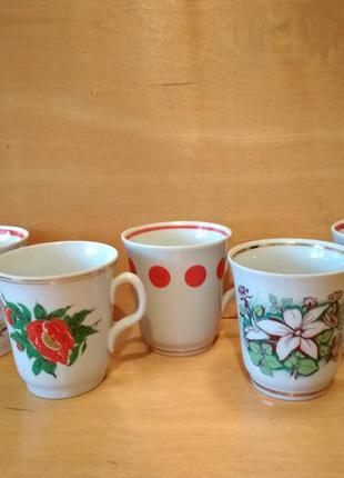 Посуда чашки керамические с цветами кружочками времен ссср 300...