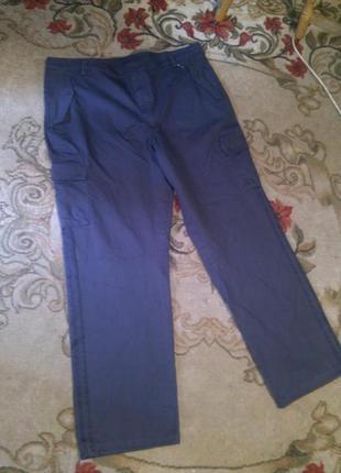 Натурал-100%коттон,оригинал,серые,брюки с лампасами,кучей карм...