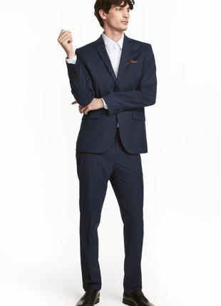 Синие костюмные брюки h&m , slim fit !