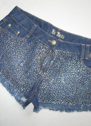 Классные джинсовые шорты со стразами и бахромой be beau.