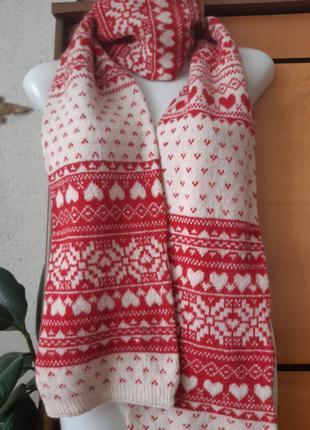 Большой шерстяной шарф с норвежскими узорами