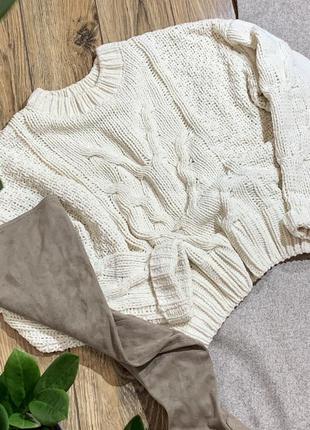 Велюровый объемный свитер
