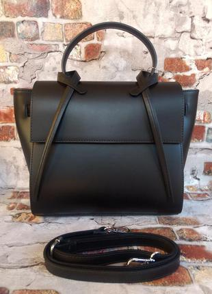 Элегантная кожаная сумка италия genuine leather чёрная