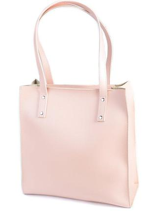 Практичная сумка шоппер розового цвета