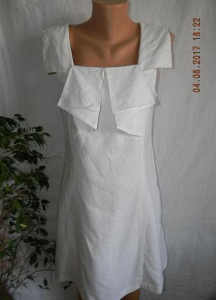 Белое платье лен next