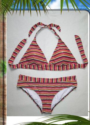 Суперовый раздельный купальник в полоску украшен пайетками h&m